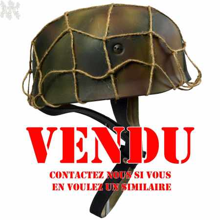 Casque Allemand M38 Parachutiste Fallschirmjäger WWII camo 3 tons normandie 44 avec filet de chanvre Reproduction