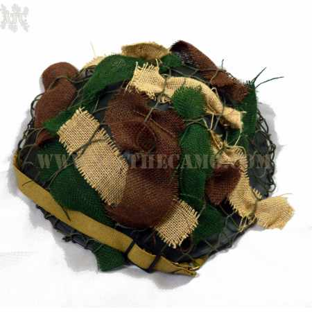 "Casque Tommy Canadien "" Brodie "" D-Day avec bandes de jute et filet  Reproduction"